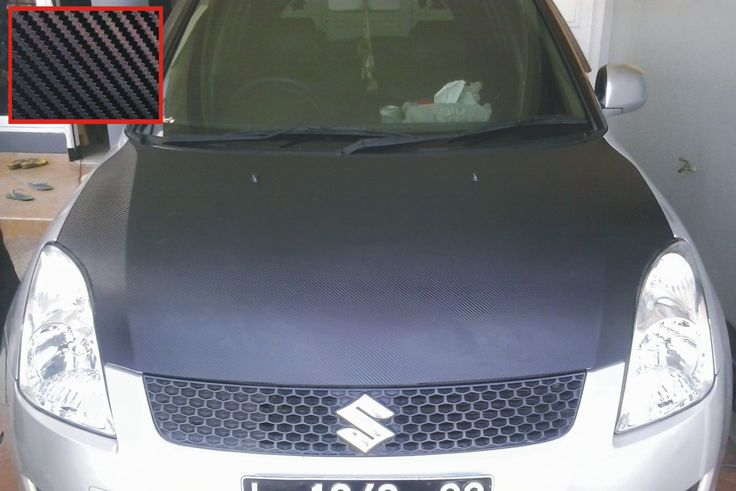 Suzuki Swift Silver - 3D Black Carbon Front Hood Wrapping
