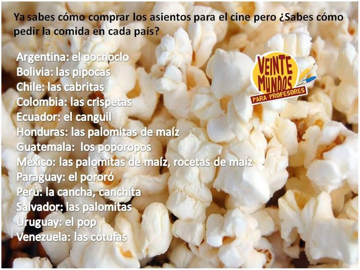 Poster - Different ways to say popcorn in Spanish