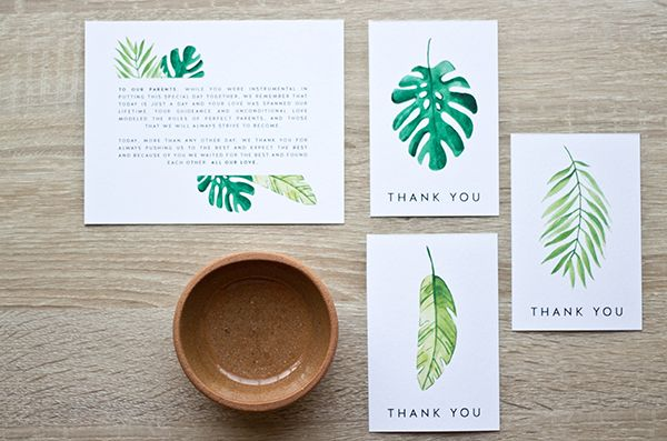 Tropically themed thank-you card and tag printables
