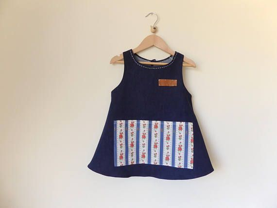 Denim Apron for Girls 6 for carefree play Size 6