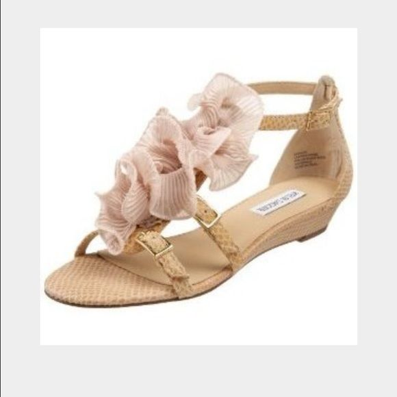 Monaco ruffle sandals Beautiful sandals with subtle snakeskin embossed leather and ruffle flowers. Still have price tag, only wear from trying on inside my house (see photo 3). I got these for a specific outfit then went with another pair, but these are great and will go with so much! Perfect for weddings or dressed down with jeans. First photo credit polyvore Kelsi Dagger Shoes Sandals