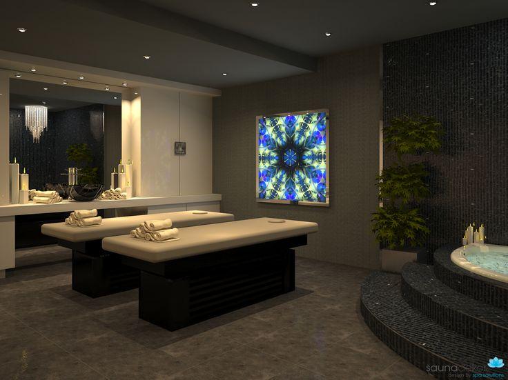 MASSAGE ROOM RENDER Jakuzzi and Glass mosaic Corner