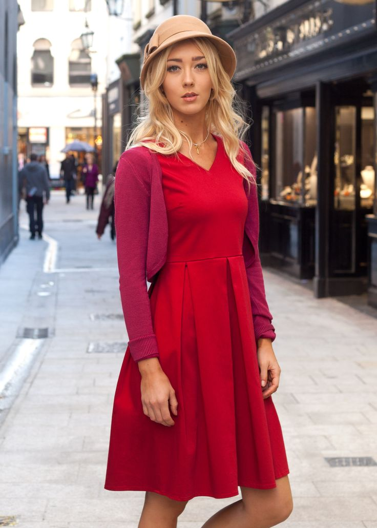 "The red Greta dress, from the brand new occasion wear range ""Kyte"" by Carousel. #vintage #style #1950s #red #dress #dublin #street #carousel #kyte"