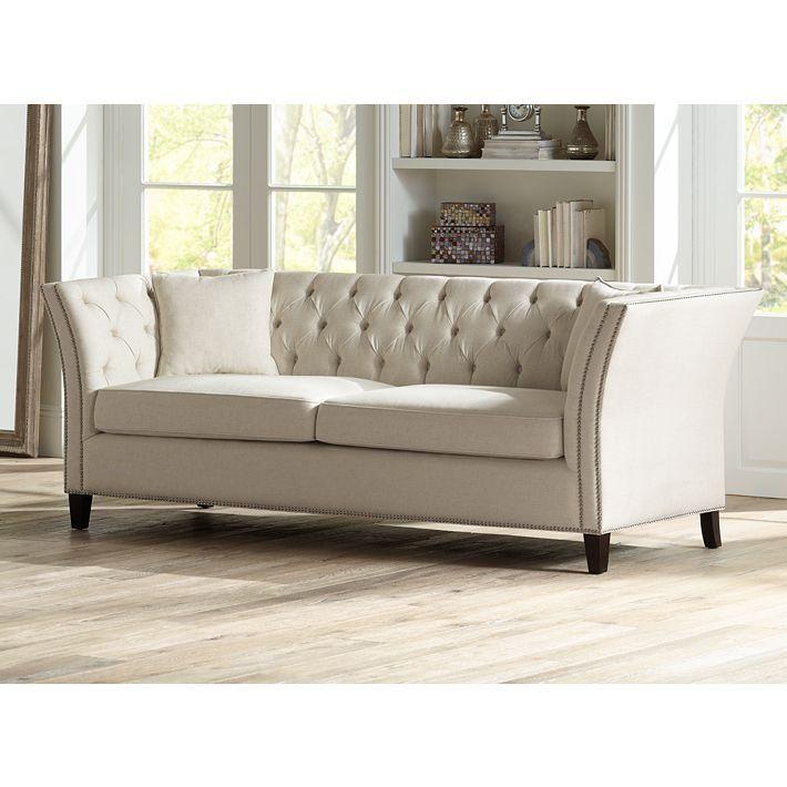 Oxford Beige Linen Upholstered Chesterfield Sofa Sofa Wood Frame