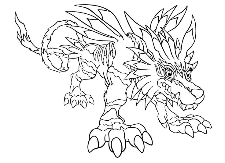 garurumon change of gabumon coloring page