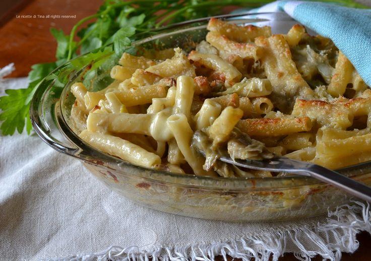 Pasta carciofi e scamorza al forno