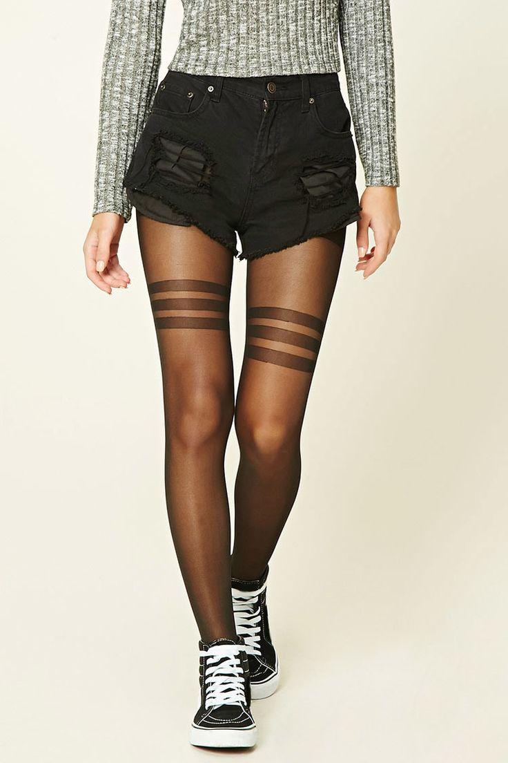 A pair of knit semi-sheer tights featuring horiztonal stripes and an…