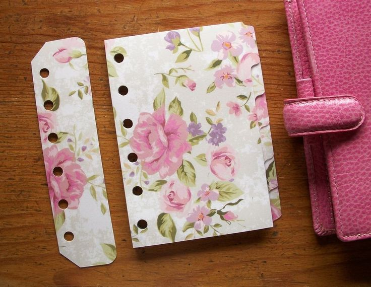 Pink Roses Pocket Dividers - Fits Filofax / Paperchase