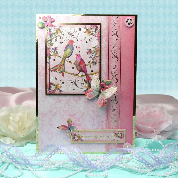 Fluttering Pearl by Hunkydory Crafts. Card made using 'Love Birds' topper set