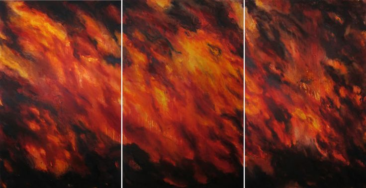 Large-scale triptych in oils by Helen Teede