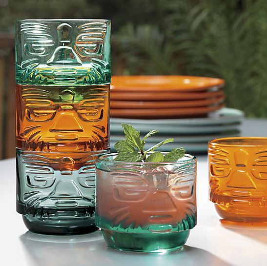 "The two new designs of tiki style barware from CB2 -- adorable! And, they're already getting good reviews for sturdiness, ""hand feel"" -- always important in a drinking glass."