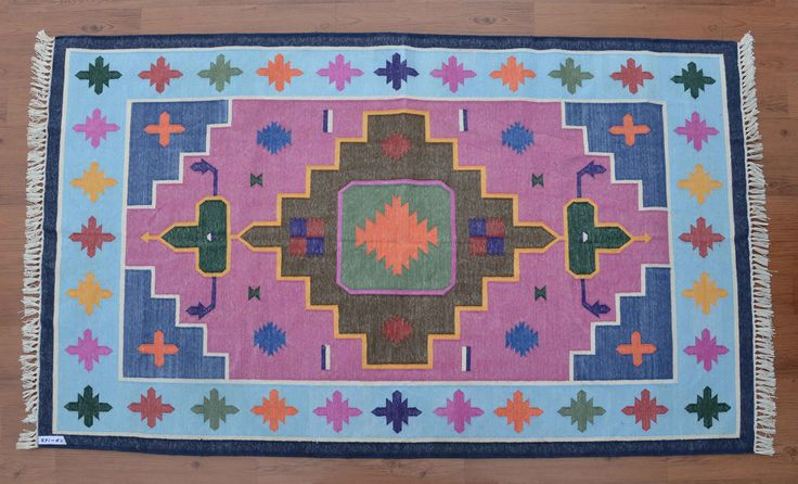 Southwestern Dhurrie Rug - 4x6, Navajo Cotton Rug, Handwoven Rug, Bohemian Rug, Persian, Kilim, Moroccan Tribal Rug CD-169 by DhurrieWorld on Etsy