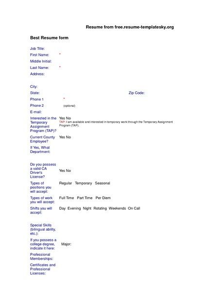 Blank Resume Templates Free Download Blank Resume Template - resume form download