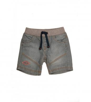 Boys fashion denim shorts with stripes and cutline detail.  Includes a ribbed drawcord waistband for comfort.