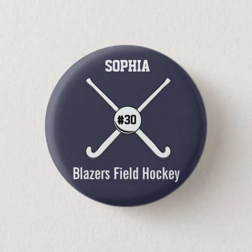 Personalized Field Hockey Team Name Jersey Number Button