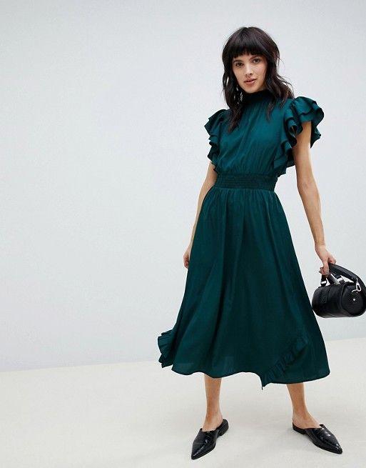 0e52cbf0448 Vero Moda flutter sleeve dress in 2019