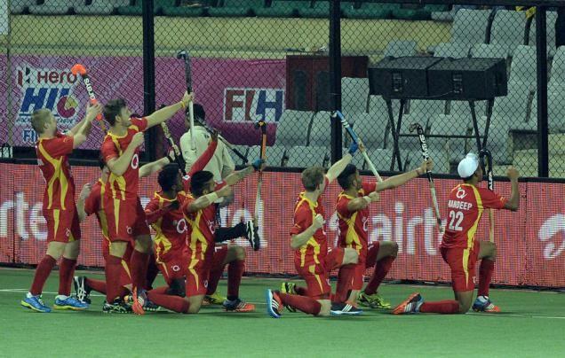 MISSION ACCOMPLISHED: Ranchi Rays players celebrate after winning the Hockey India League on Sunday. Photo: Sandeep Saxena