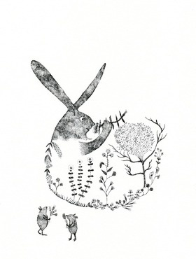 Rabbit forest  is created in 2013.  Original artwork is done on 210 x 297 mm paper. ( A4 size )  The drawing is composed entirely of tiny ink dots.   This work is professionally framed with white wooden frame. Has D rings at the back with thread attached and ready for hanging.   Please note that the dimensions above include frame. Width of the frame is 26cm.
