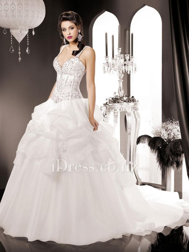 sleeveless straps ball gown pick-up skirt beaded bodice wedding dress from idress.co.nz