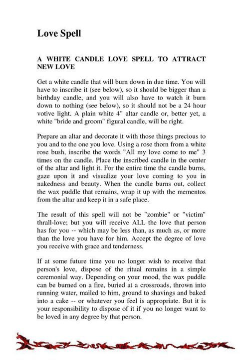 White candle love spell to attract new love