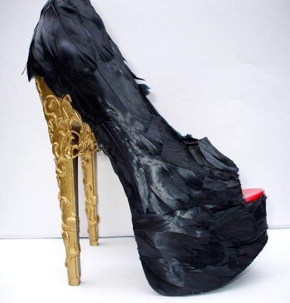 """alexander mcqueen """"tribute"""" feather shoes by   . alafemme on Etsy. This is not an original Alexander Mcqueen"""