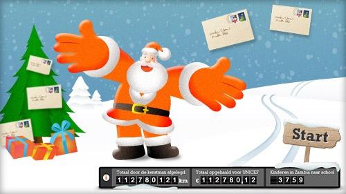 STUUR DE KERSTMAN OP PAD    ING - Eindejaarsactie voor UNICEF    Stuur een gratis online kerstgroet aan al je vrienden, familie en bekenden. Dit kan via Facebook, Twitter en e-mail.    Voor elke 10 kilometer die de Kerstman reist om jouw kerstgroet bij je vrienden en familie te bezorgen, doneert de ING € 0,01 aan UNICEF. De afstand die de Kerstman aflegt, wordt berekend op basis van de afstand tussen jou en de ontvanger. Hiervoor wordt de locatie van de computer of smartphone gebruikt.