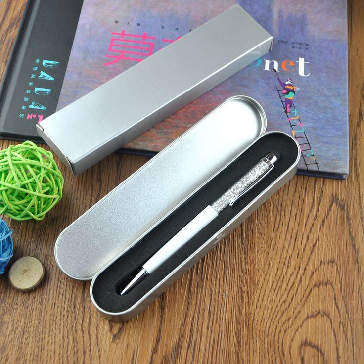 10pcs/lot Advanced Metal Pencil box crystal stylus touch pen gift tin box packaging business pen box DIY LOGO Company Name #Affiliate