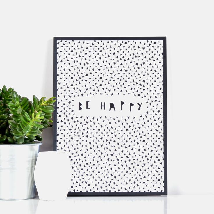 'Be Happy' Print. Be Happy lettering in quirky cut-out style typography amongst a sea of stars- beautiful setting for an important message.