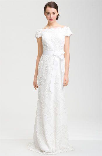 tadashi shoji cap sleeve bow belt dress wedding just