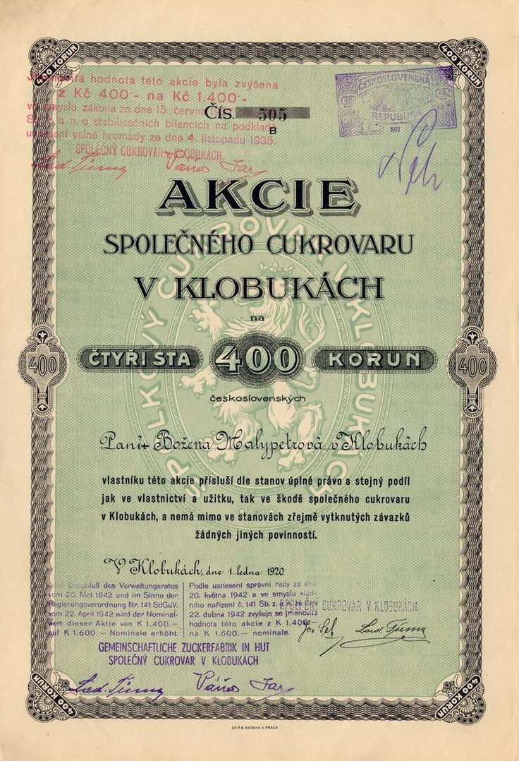 Společný cukrovar v Klobukách (Gemeinschaftliche Zuckerfabrik in Hut). Akcie na 400 Kč, série B. Klobuky, 1920.