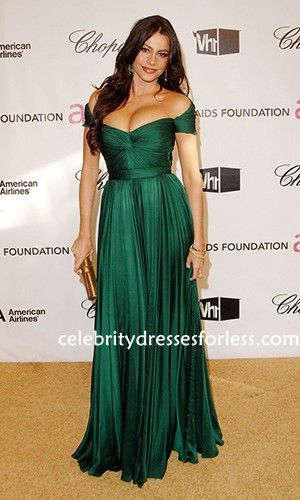 Sofia Vergara Green Off-the-shoulder Dress Stores Online 80th Annual Academy Awards Formal Dress.prom dresses,formal dresses,ball gown,homecoming dresses,party dress,evening dresses,sequin dresses,cocktail dresses,graduation dresses,formal gowns,prom gown,evening gown