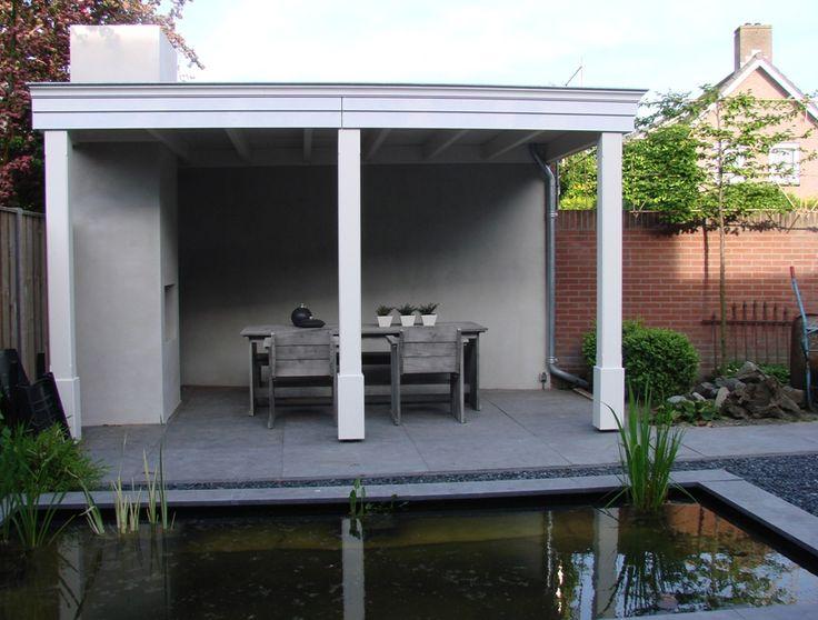 Overkapping terras houten overkapping vijver overkappingen tuinoverkappingen pinterest - Veranda met stenen muur ...