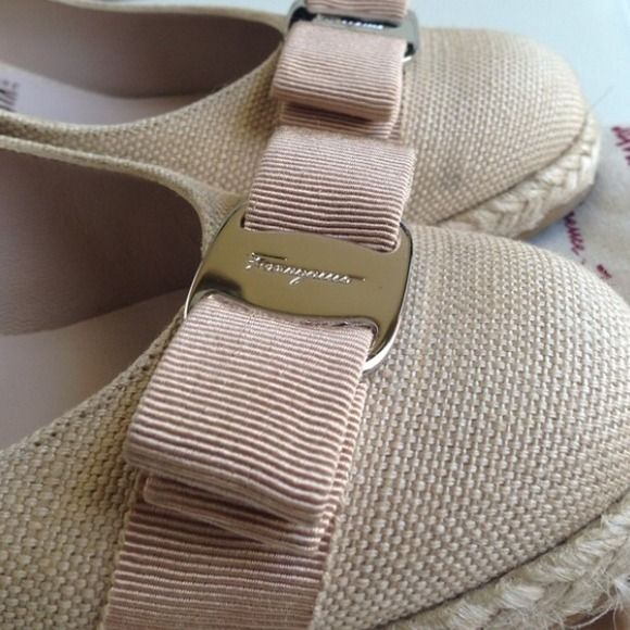 Ferragamo Beige Espadrille Wedge☀️ Ferragamo Beige Espadrille Wedge☀️perfect for summer, very comfortable,, over all clean almost new conditionprice firm to offers❌Trade please,285 ️Any Q email fayexu22@gmail Ferragamo Shoes Espadrilles