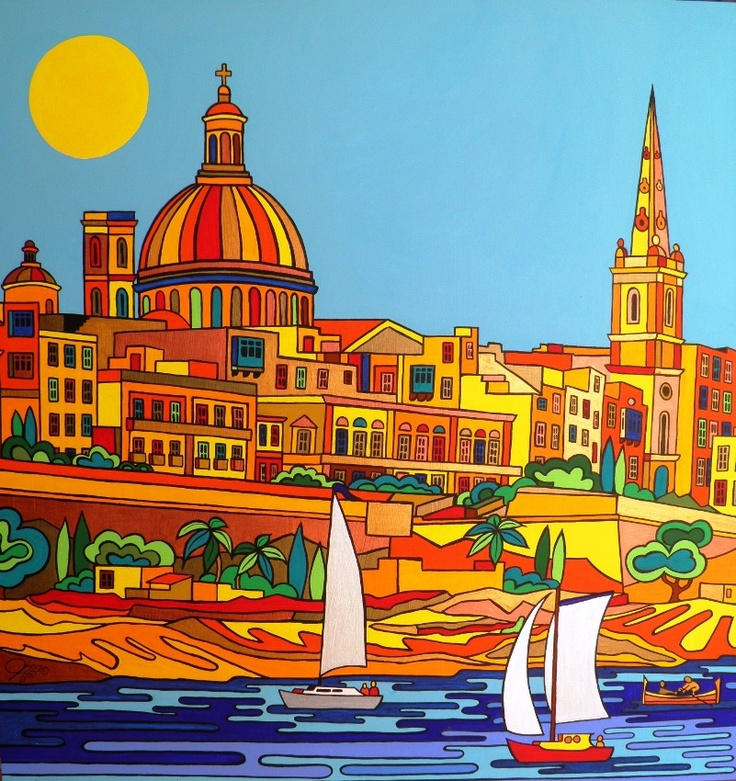 Valletta   Acrylic on wood  120cm by 120cm   700 Euros