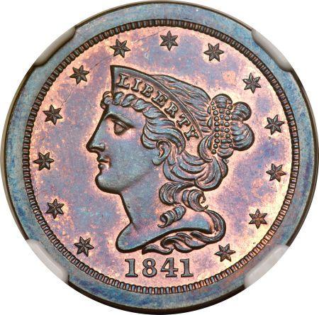Braided Hair Half Cents - 1841 ORIGINAL 1/2C PF
