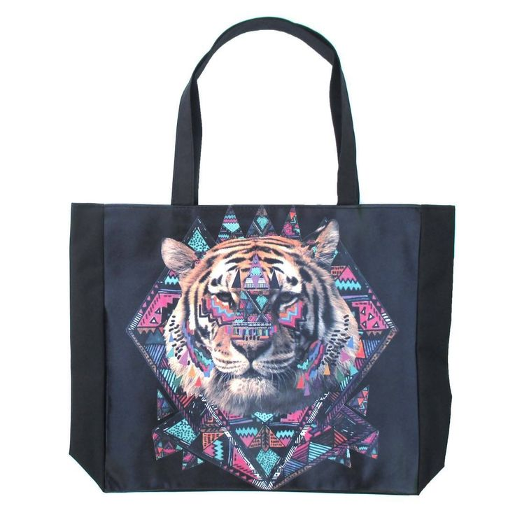 Geometrical Aztec Tiger Head Print Rectangular Shopper Tote Shoulder Bag | DOTOLY