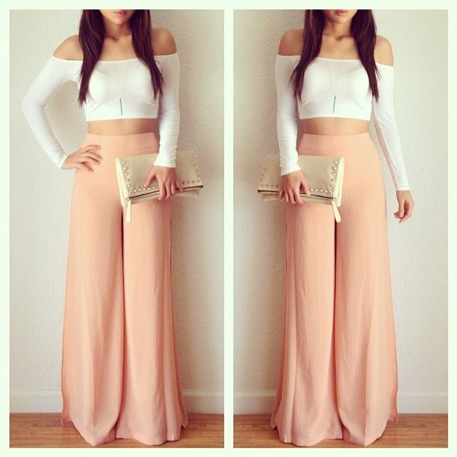 Crop top and maxi pants #outfit #nice #yosoychic