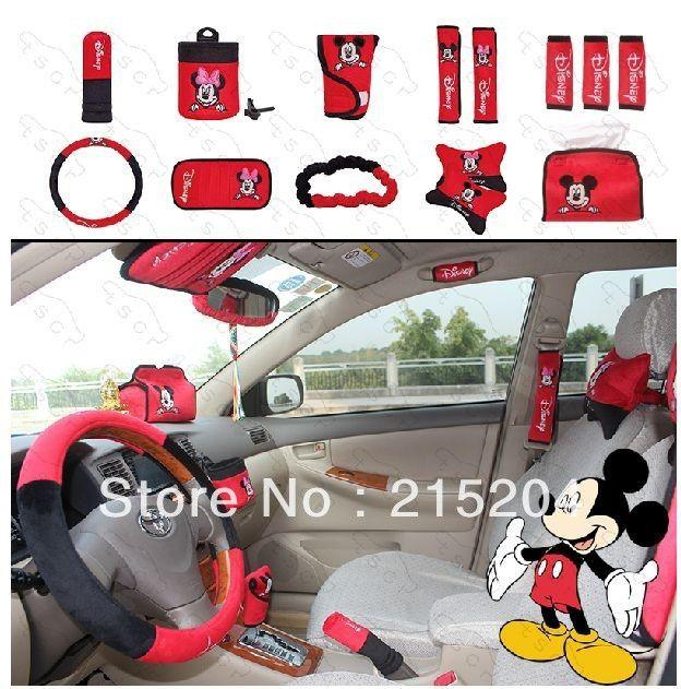 MUNIUREN Set Cute Cartoon Mickey Car Seat Cover Interior Accessories Plush Universal Steering Wheel For Women