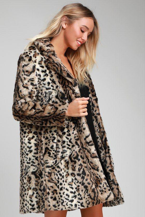 Lulus | Bradshaw Leopard Print Faux Fur Coat | Size X-Small | Brown | 100% Polyester