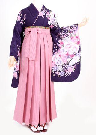 【着物・袴セット】紫地白ピンク小花・ピンクストライプ - 卒業式の袴を格安で全国へレンタル【卒業はかまネットレンタル】