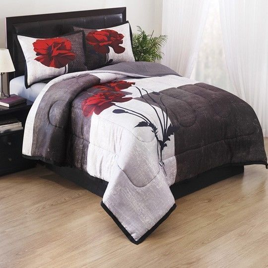 details about new bed a in bag black white grey red rose twill elegant comforter set t f q k. Black Bedroom Furniture Sets. Home Design Ideas