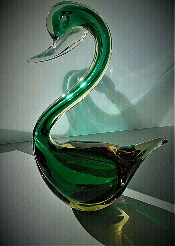 60s Vintage Murano Glass Swan Figurine, Murano Glass Swan