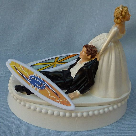 Wedding Cake Topper Surfing Surfboard Surfer Groom Themed w/ Garter, Display Box