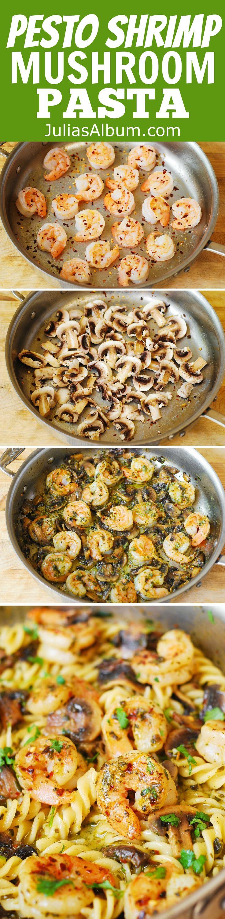 Pesto Shrimp Mushroom Pasta