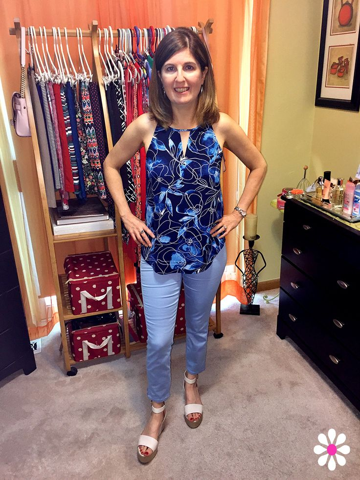 RW&Co.  Printed sleeveless top paired with Natalie jeggins and Nine West Wedges make for a perfect summer outfit!