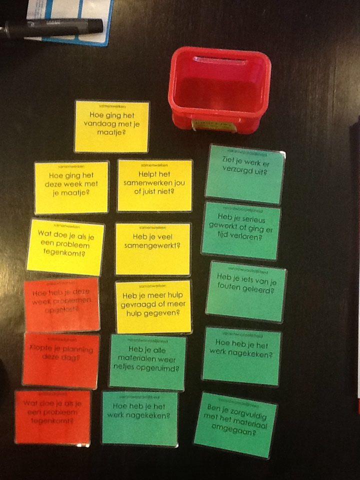 Met deze kaarten kunnen de leerlingen zelfstandig reflecteren. De kaartjes kunnen gebruikt worden na een groepswerk, op en einde van de dag? Ik zou per leerling een kaartenpakket voorzien. Op het einde van de dag kun je de leerlingen een kaart laten kiezen. Je kunt ze één voor één bespreken of enkele leerlingen uitkiezen. Ik zou deze kaarten gebruiken in de tweede en derde graad. Je kunt zelf de vragen eenvoudiger maken om in de eerste graad te gebruiken.