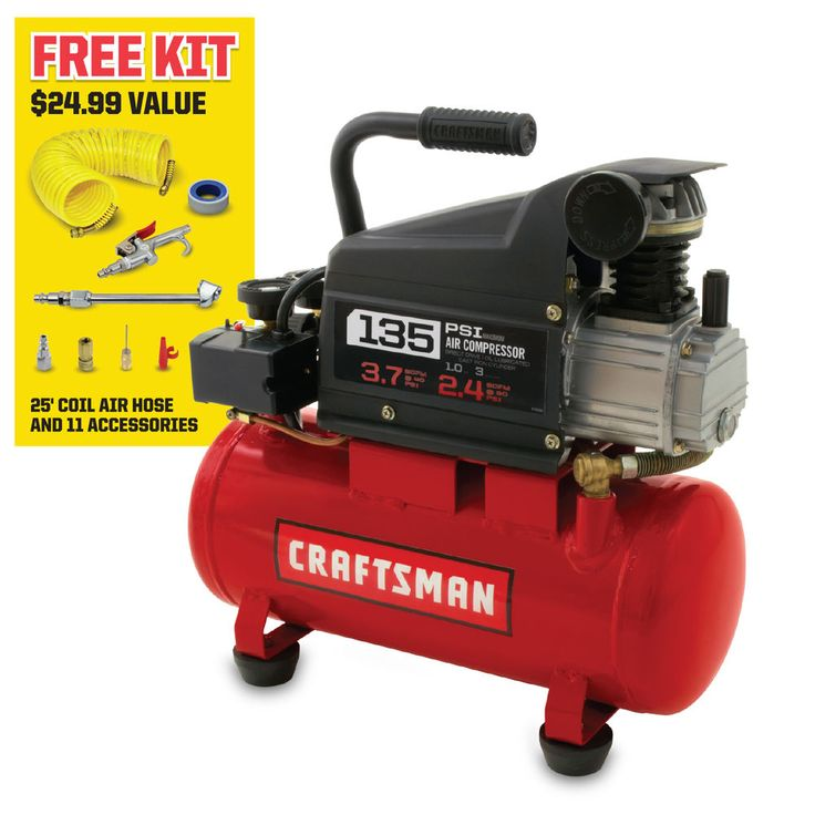 Portable Electric Air Compressor 3 Gal 1 HP Oil-Lubricated &11-Pc Accessory Kit  #Craftsman