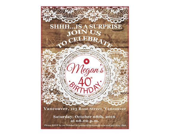 40th Birthday Invitation for women Pink by UniqueGoldenCards