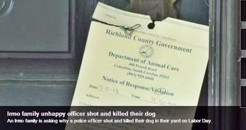 Posted September 3, 2013 A four-year-old dog named Kenya is dead, and her family left grieving after police shot the dog, WIS10 News reported September 3.  The incident began Labor Day when a jogger reported Kenya, a German Shepherd/Lab mix had chased the jogger down the street. Irmo Police Department (South Carolina) answered the call.  Kenya had been known to escape three or four times in the past, owner Jared Mann told WIS. A neighbor would find her, and call Jared, who would then go and…
