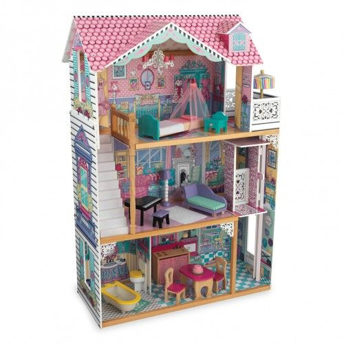 With the Annabelle Dollhouse, playtime will never be dull! From the molded latticework to the chandelier hanging from the ceiling, this dollhouse is full of gorgeous details sure to put a smile on any young child's face.